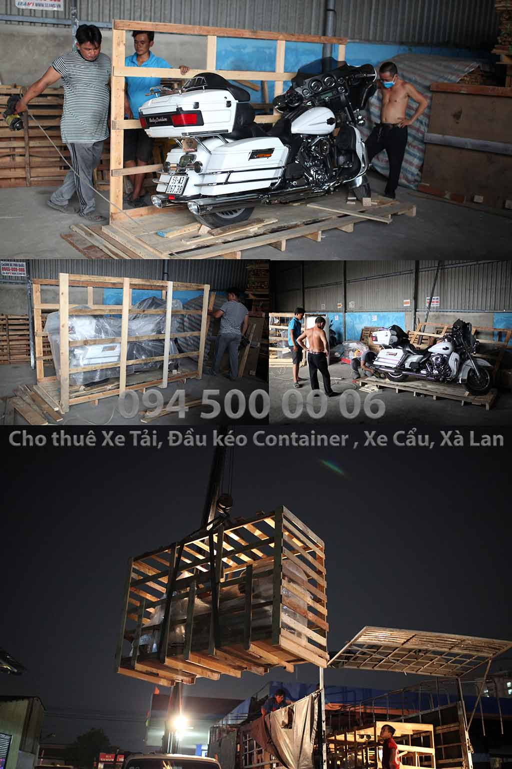(Ảnh: đóng kiện gỗ hàng hóa; Cty Con Rùa Biển nhận vận chuyển và kiêm cả việc đóng kiện gỗ nếu đó là hàng hóa dễ hư hỏng khi vận chuyển, kiện gỗ đảm bảo tiêu chuẩn vận chuyển an toàn; trong ảnh là đóng kiện gỗ xe PHÂN KHỐI LỚN, xe môtô cho chắc chắn khi đi đường dài)