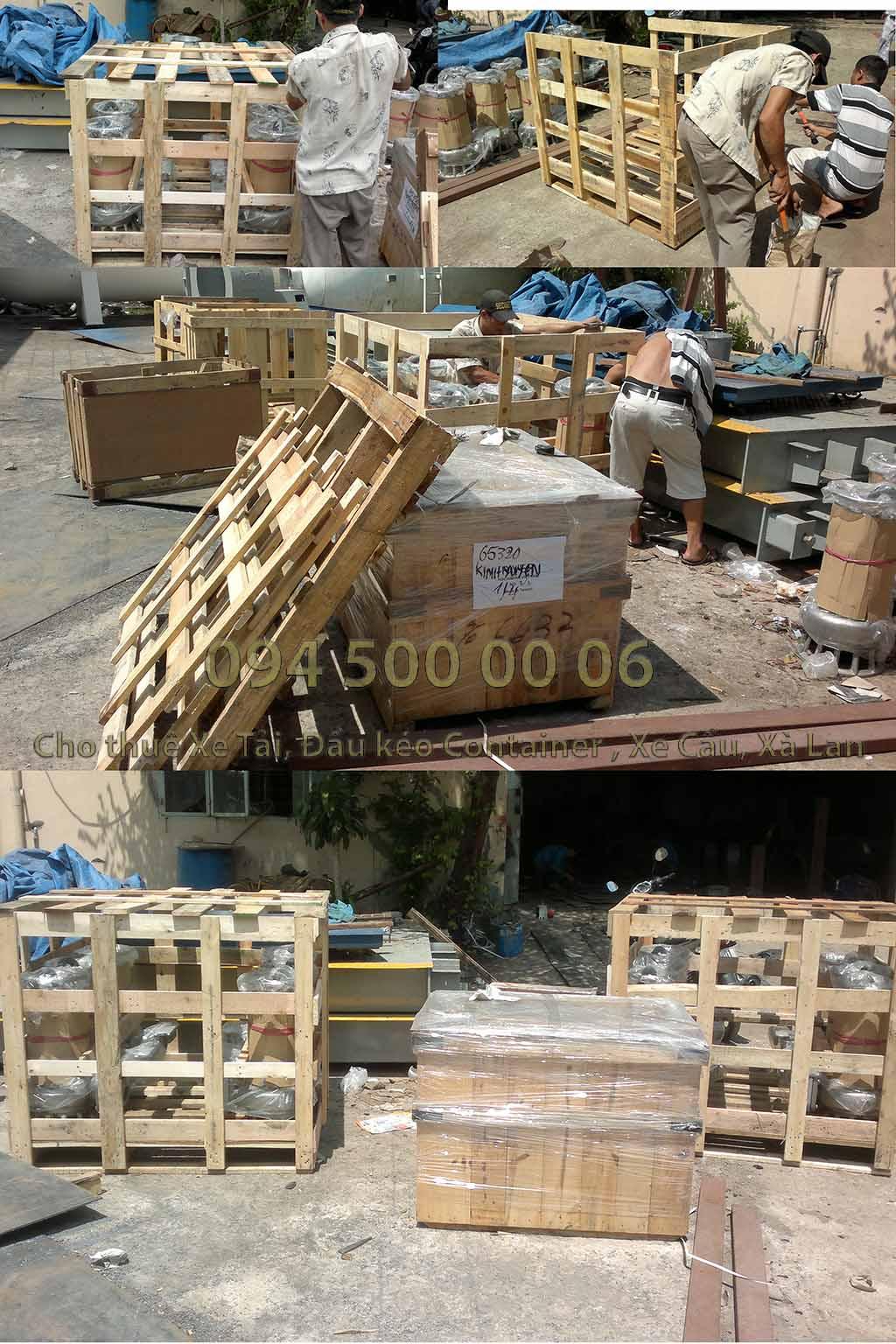 (Ảnh: dịch vụ đóng kiện gỗ hàng hóa; Cty Con Rùa Biển nhận vận chuyển và kiêm cả việc đóng kiện gỗ nếu đó là hàng hóa dễ hư hỏng khi vận chuyển, kiện gỗ đảm bảo tiêu chuẩn vận chuyển an toàn: trong ảnh là đóng kiện gỗ máy bơm, tránh hư hỏng xung quanh do hàng mới 100%)