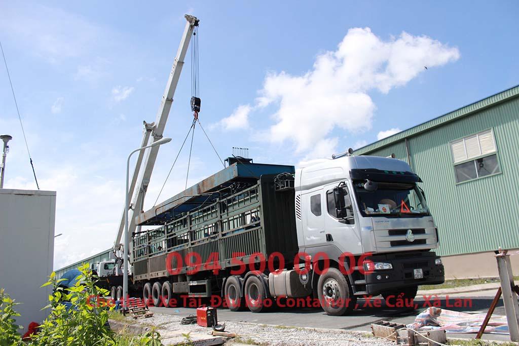 Ảnh: Dịch vụ Cho thuê xe cẩu tại HCM: Cty Con Rùa Biển đang nhận Cẩu và vận chuyển dàn máy đóng cọc thủy lực từ Nhà Máy Đạm Cà Mau đi Hà Nội